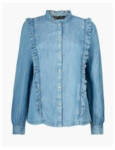 M&S Collection Button Detailed Ruffled Blouse