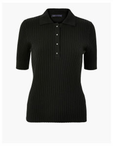 M&S Collection Button Up Polo Knitted Top