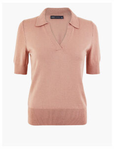 M&S Collection Open Collar Polo Knitted Top