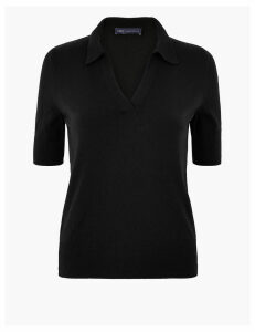 M&S Collection Collared Neck Short Sleeve Jumper