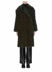 Faux shearling panel mohair coat