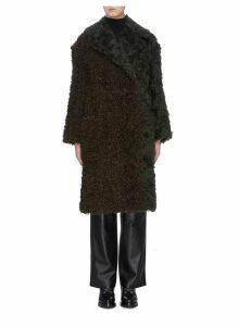 Faux shearling panel mohair coat