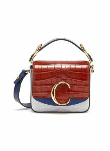 'Chloé C' colourblock mini croc lizard embossed leather bag