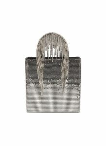 Glass crystal fringe handle chainmail tote