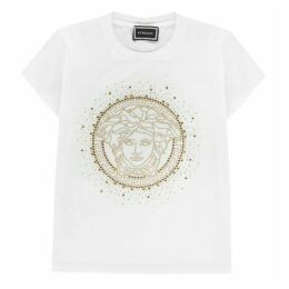 Young Versace Gold Medusa Diamanté T Shirt