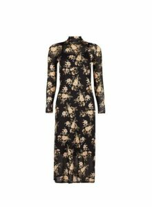 Womens Black Floral Print Mesh Midi Dress, Black