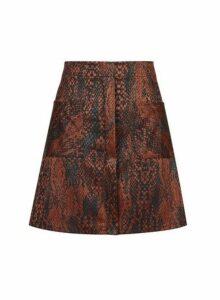 Womens **Multi Colour Snake Print Mini Skirt- Animal, Animal