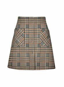 Womens **Multi Colour Check Print Mini Skirt- Multi Colour, Multi Colour
