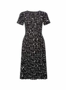 Womens Black Marble Print Keyhole Pleat Midi Dress- Black, Black