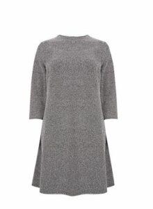 Womens **Grey Tweed Swing Dress- Black, Black