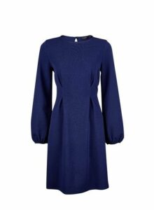 Womens **Navy Tuck Skater Dress- Blue, Blue
