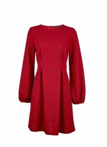 Womens **Red Tuck Skater Dress- Red, Red