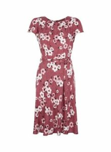 Womens **Billie & Blossom Mulberry Floral And Spot Print Fit And Flare Dress- Red, Red