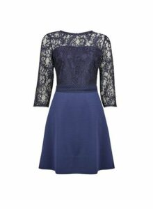 Womens **Blue Trim Front Lace Skater Dress- Blue, Blue