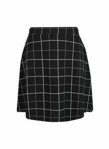 Womens Black Checked Flippy Mini Skirt- Black, Black