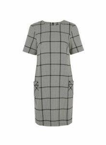 Womens Black Dogstooth Print Pocket Shift Dress- Black, Black