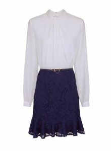 Womens **Paper Dolls Navy Lace Belted Dress- Navy, Navy