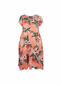Womens **Billie & Blossom Curve Coral Tropical Print Skater Dress- Coral, Coral