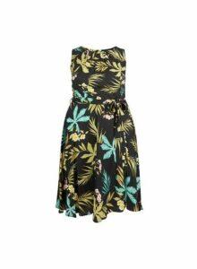 Womens **Billie & Blossom Curve Black Palm Print Dress, Black