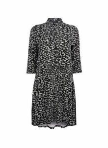 Womens Black And White Floral Print Smock Dress, Black