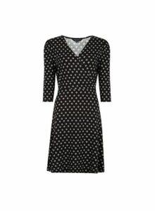 Womens Black Geometric Print Wrap Dress- Black, Black