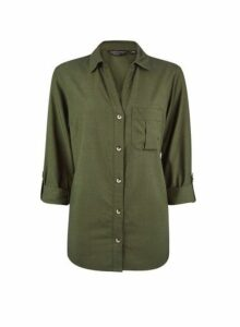 Womens Khaki Lyocell Shirt- Green, Green