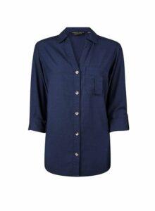 Womens Navy Lyocell Shirt- Blue, Blue
