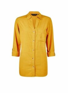 Womens Yellow Lyocell Shirt- Yellow, Yellow