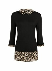 Womens Black Animal Print 2-In-1 Top- Black, Black