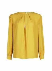 Womens Yellow Pleat Neck Top- Orange, Orange