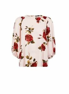 Womens Pink Floral Print Top- Ivory, Ivory