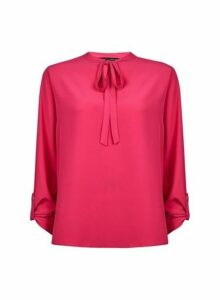 Womens Pink Tie Neck Shirt- Pink, Pink