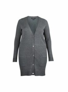 Womens **Dp Curve Grey Button Cardigan- Grey, Grey