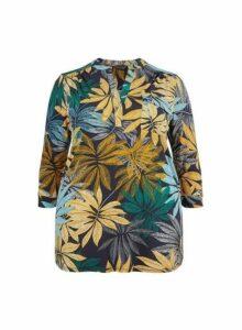 Womens **Dp Curve Multi Colour Palm Print Shirt- Multi Colour, Multi Colour