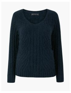 M&S Collection Textured V-Neck Jumper
