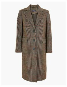M&S Collection Checked Tailored Coat with Wool
