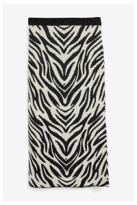 Womens Next Monochrome Zebra Pencil Skirt -  Black