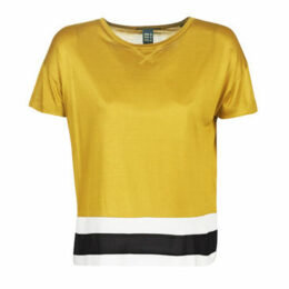 Maison Scotch  CROPPED SHORT SLEEVE TEE WITH RIB BOTTOM HEM  women's Blouse in Yellow