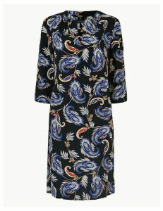 M&S Collection Crepe Paisley Print Shift Dress