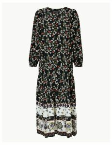 M&S Collection Floral Border Print Relaxed Midi Dress