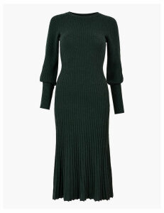 Autograph Merino Ribbed Knitted Dress