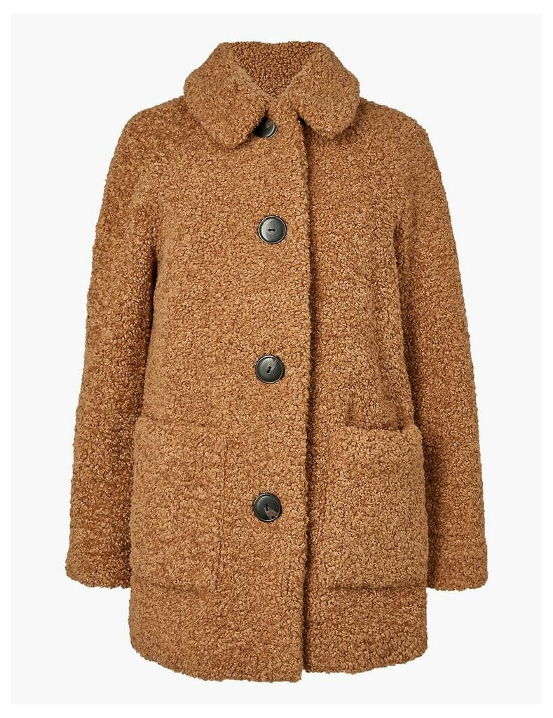 M&S Collection PETITE Borg Faux Fur Coat