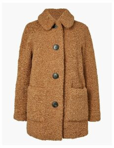 M&S Collection PETITE Borg Faux Fur Coat
