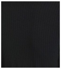 Black Ribbed Button Belted Midi Dress New Look