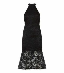 Black Lace Fishtail Midi Dress New Look