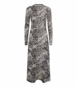 Black Leopard Print Soft Touch Midi Dress New Look