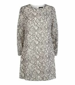 Light Grey Snake Print Chiffon Tunic Dress New Look