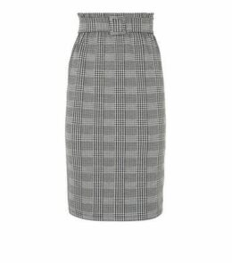 Light Grey Check Paperbag Midi Skirt New Look