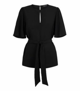 Black Keyhole Front Belted Blouse New Look