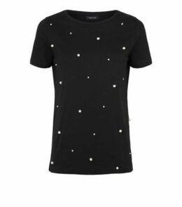 Black Faux Pearl Embellished T-Shirt New Look
